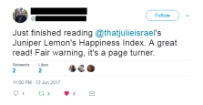 reader tweet: warning - page turner