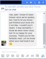 The loveliest message from a friend of a friend in college. Another reader up late :)